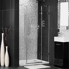 wonderful modern bathroom with black and white mosaic floor and