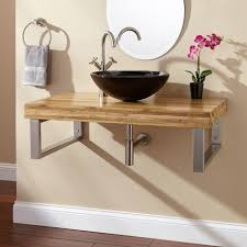 floating brown oak combinated steel with black bowl sink and round