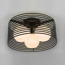 3 light black metal white shade designer flush mount ceiling