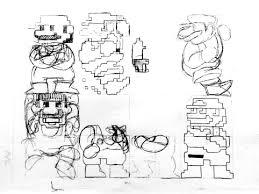 image miyamoto u0027s original sketches super mario bros sprites
