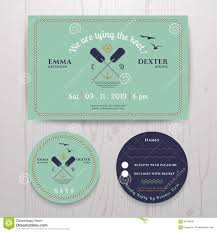Wedding Invitations With Free Rsvp Cards Nautical Twin Paddle Wedding Invitation And Rsvp Card Template Set