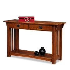 leick 8233 mission console table with drawers and shelf medium oak