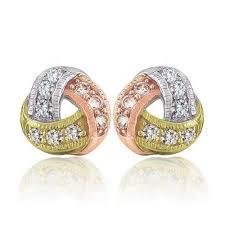 big stud earrings tri color twisted knot silver stud earrings