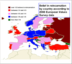 europe map by country belief in reincarnation in europe by country map of evs 2008 data