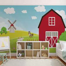 farm cartoon boys bedroom photo wallpaper mural 2977wm farm cartoon boys bedroom photo wallpaper mural 2977wm
