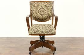 Upholstered Swivel Desk Chair Sold Oak 1914 Antique Swivel Adjustable Library Or Office Desk