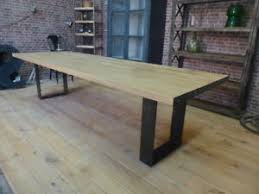 grande table cuisine grande table industrielle pieds u chêne et fer cuisine bar