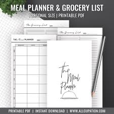 Menu Planner With Grocery List Template Meal Planner Printable Personal Inserts Menu Planner Grocery