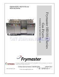 frymaster fryer hd1814 series hd21814g user u0027s manual download free