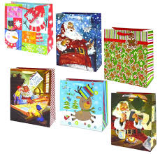 christmas gift bags with glitter and foil stamps large 12 pack