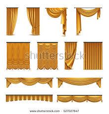 Silk Velvet Curtains Golden Silk Velvet Luxury Curtains Draperies Stock Vector