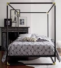 Black Canopy Bed Frame Simple Canopy Bed In Black Colors With Golden Corner Lines