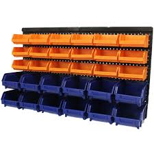 Garage Tool Organizer Rack - large 30pce storage bin tub kit wall mount garage warehouse tool