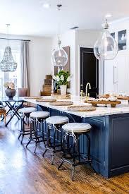Dark Blue Kitchen White Kitchen With Dark Blue Center Island Transitional
