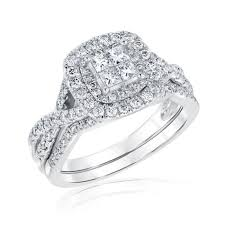 halo wedding rings images Ellaura harmony princess diamond cluster double halo bridal set jpg