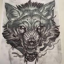 beautiful sketch of a wolf growling i would want a tattoo like