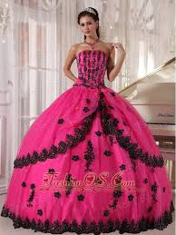 perfect pink quinceanera dress strapless appliques ball gown