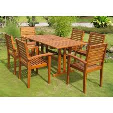 Outdoor Dining Set With Bench Wood Patio Dining Sets You U0027ll Love Wayfair