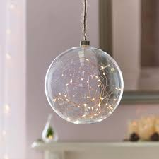 indoor hanging glass with copper wire lights