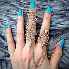 fashion long rings images Crystal leaf chain linked full finger knuckle ring jewel cult jpg
