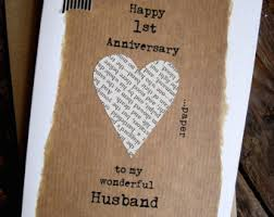 1 year anniversary gift for him 1st anniversary card etsy