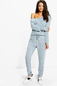 lounge jumpsuit viola slash neck lounge jumpsuit boohoo