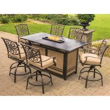 Patio Furniture With Fire Pit Set - traditions 7 piece high dining bar set in tan with 30 000 btu fire