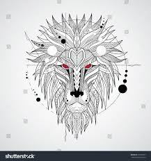 tattoo design lion patterned head lion on white background stock vector 379733557