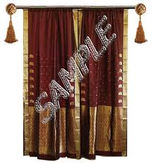 India Curtains Second Marketplace India Silk Curtain Gold With Bead