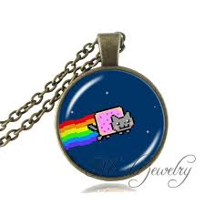 glass necklace pendants wholesale images Buy handmade nyan cat pendant rainbow cat glass jpg
