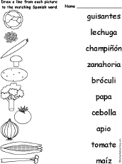 match spanish words and pictures at enchantedlearning com