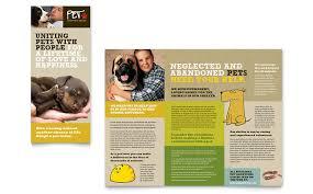 animal shelter u0026 pet adoption tri fold brochure template word