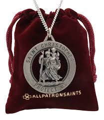 all round necklace images Men 39 s large saint christopher round cut out medal and necklace jpg