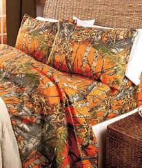Orange Camo Bed Set Camouflage Sheet Set King Size Cabin Country Lodge Bedding Camo