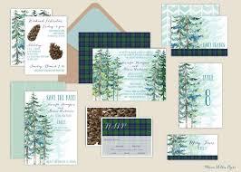 forest wedding invitations rustic pine invitations watercolor tree wedding invitations