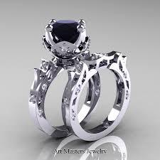 black bridal sets modern antique 14k white gold 3 0 carat black and white diamond