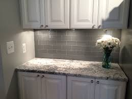 kitchen wall tile backsplash grey glass subway tile backsplash and white cabinet for small