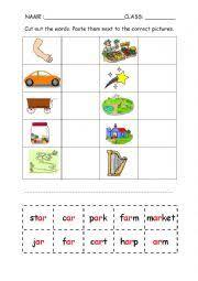 english worksheets phonics ar cut and paste worksheet
