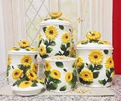 sunflower canisters for kitchen country sunflower 4pc canister ceramic kitchen decor