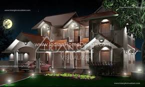 beautiful night view of kerala traditional home