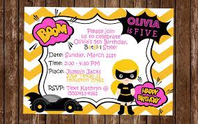 Superhero Invitation Card Batgirl Birthday Invitation Batgirl Party Invitation