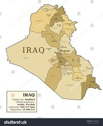 baghdad world map iraq map provinces governorates various colours stock vector