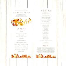 simple wedding program template wedding program template word fall swirling leaves