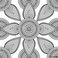 mandala ornamental print seamless black white pattern