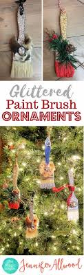 diy glittered ornaments paint brushes for paint