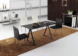 small modern black dining table u0026 4 chairs