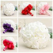 Artificial Flowers For Home Decoration 22 Heads Colourfast Foam Roses Crystal Artificial Flower Home