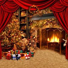 Christmas Photo Backdrops Aliexpress Com Buy Fancy Xmas Tree Gold Fireplace Vintage