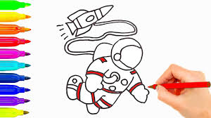 how to draw for kids astronaut w spaceship coloring pages