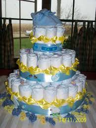 yellow n blue diaper cake for a baby boy